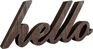 CVHOMEDECO. Letrero de Madera con Texto en inglés Hello Desk/Table/Shelf/Home Wall/Office Decoration Art, 10-1/2 x 4-1/2 x 1 Pulgada