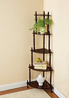Flipzon 5 Shelve/Tier Wooden Wall Corner Table, Wall Decorative Shelf, Brown Finish (Need to Be Assemble - DIY)