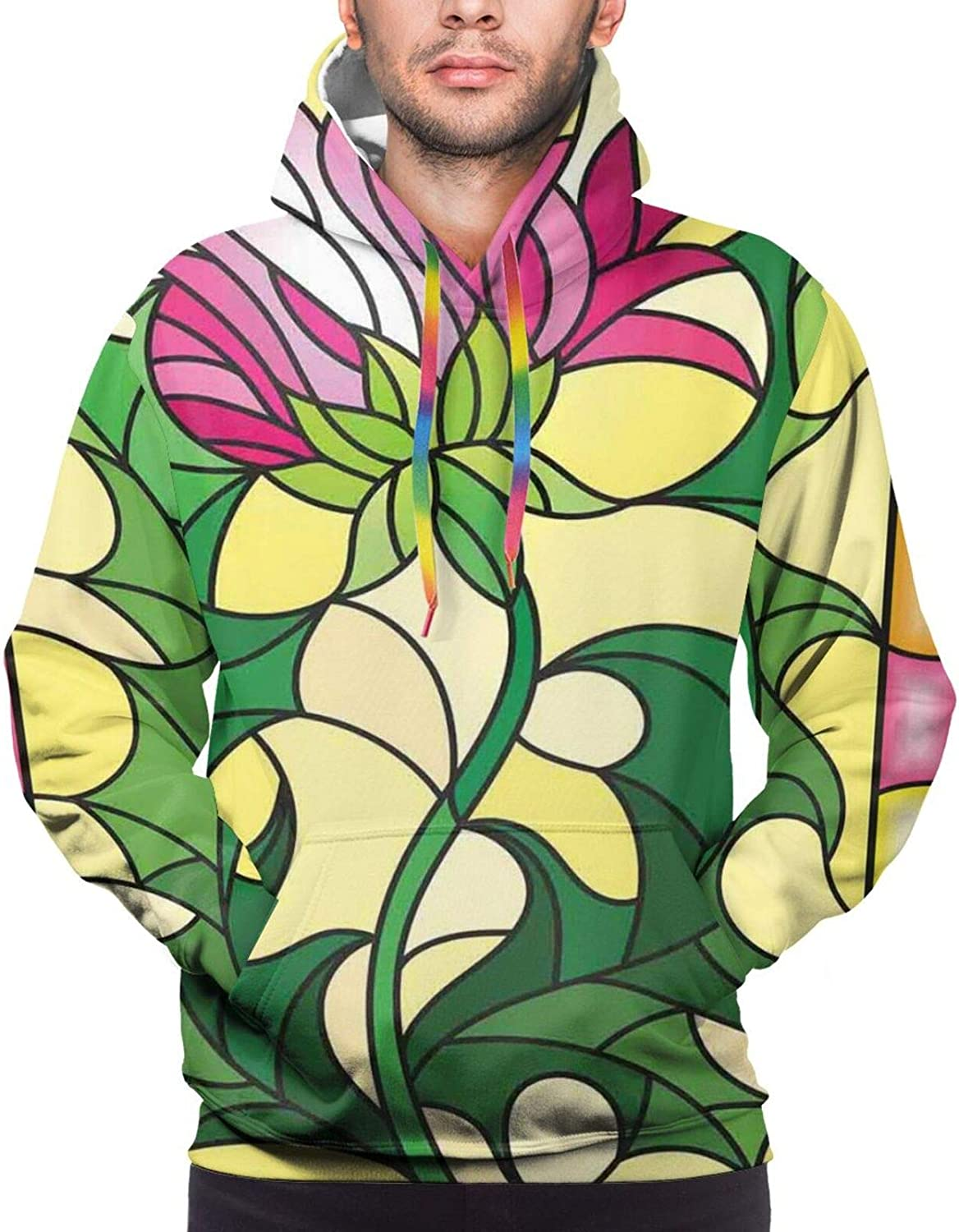 Men's Hoodies Sweatshirts,Colorful Spring Theme with Sunflowers Daisy Chamomile Petals Summer Bluebells Motif
