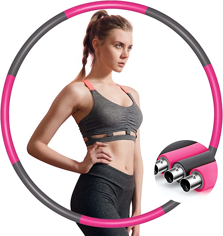 IENIN Weighted Exercise Fitness Hoop 8 Section Detachable Exercise Hoop, Portable Soft Adjustable Sport Weighted Hoop for Women Lose Weight, Workout