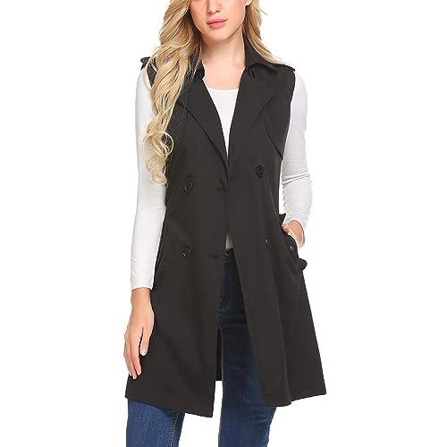 155689d8fa77ba Mofavor Women s Long Sleeveless Trench Coat Double Breasted Vest Blazer  Jacket with Belt S-XXL