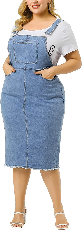 Agnes Orinda Plus Size Overall Denim Max 44% OFF Max 60% OFF Dresses Women Adjustabl for