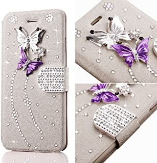 for iPhone X Case,iPhone Xs Case,L-FADNUT Bling Jewellery Crystal Rhinestone Flip PU Leather Case,3D Butterfly Magnetic Diamond Buckle with Stand Wallet Card Holder - Rose Gold