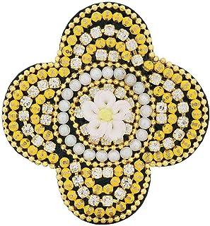 5dbe2150da4 Maayra Yellow Brooch Dailywear Saree pin Hand Woven Pearls Flower Beads Work