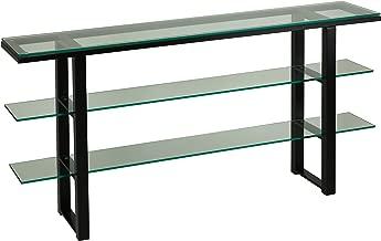 Cortesi Home Rozo Contemporary Three Tier Glass Console Table, Black