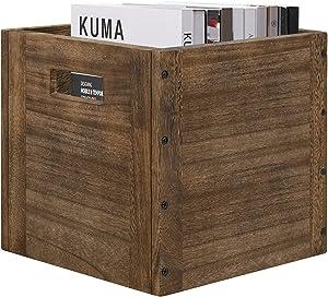 "Wood Storage Cube Basket Bins Organizer, Rustic Brown Decorative Wood Storage Box Container for Home,Office,Closet,Shelf, 11"" x 11"" x 11"""