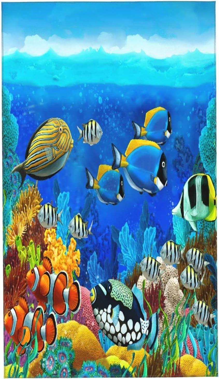 LAKUERVI Microfiber Bargain Hand Towel for Cora Sea Fish Seabed Bathroom Over item handling