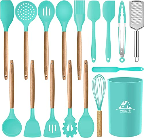 high quality Mibote 17 Pcs Silicone Cooking Kitchen online Utensils Set with Holder, Wooden Handles Cooking Tool BPA Free Non Toxic online sale Turner Tongs Spatula Spoon Kitchen Gadgets Set for Nonstick Cookware (Teal) outlet sale