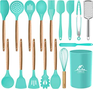 Mibote 17 Pcs Silicone Cooking Kitchen Utensils Set with Holder, Wooden Handles Cooking..