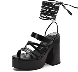 618-4 Women's Lace Up Gladiator Sandals Open Toe Platform Chunky Heel Sandals