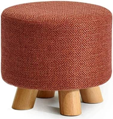 Upholstered Stool Round Ottoman Pouffe Footstool with 4 Wooden Legs Small Change Shoes Stool Footrest Stool for Living Room and Bedroom-Orange