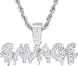 metaltree98 CZ Iced Out Dripping Savage Sign Pendant 24