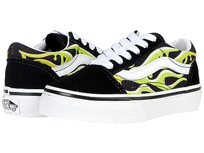 Vans Kids Old Skool (Little Kid) ((Slime Flame) Black/True White) Boys Shoes