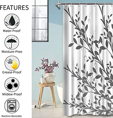 """Ombre Grey Leaves Shower Curtains for Bathroom, Botanical Leaves Fabric Grey Shower Curtain Bath Decor, 72""""×72"""""""