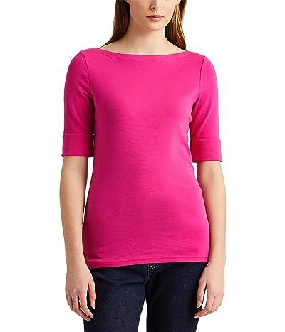 LAUREN Ralph Lauren Stretch Cotton Boat Neck Tee (Nouveau Bright Pink) Women