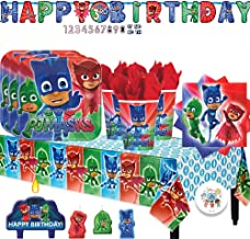 PJ Masks Birthday Party Supply Pack with Plates, Cups, Napkins, Tablecover, Birthday Candles, Add An Age Birthday Banner, and Exclusive Birthday Pin by Another Dream