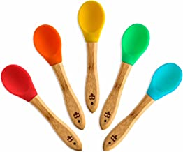 Bambusi Natural Bamboo Baby Spoons - First Stage Weaning Feeding Spoons with Soft Silicone Tips for Babies or Toddler | Gum-Friendly BPA-Free and Lead-Free | Great Infant Gift (Set of 5)