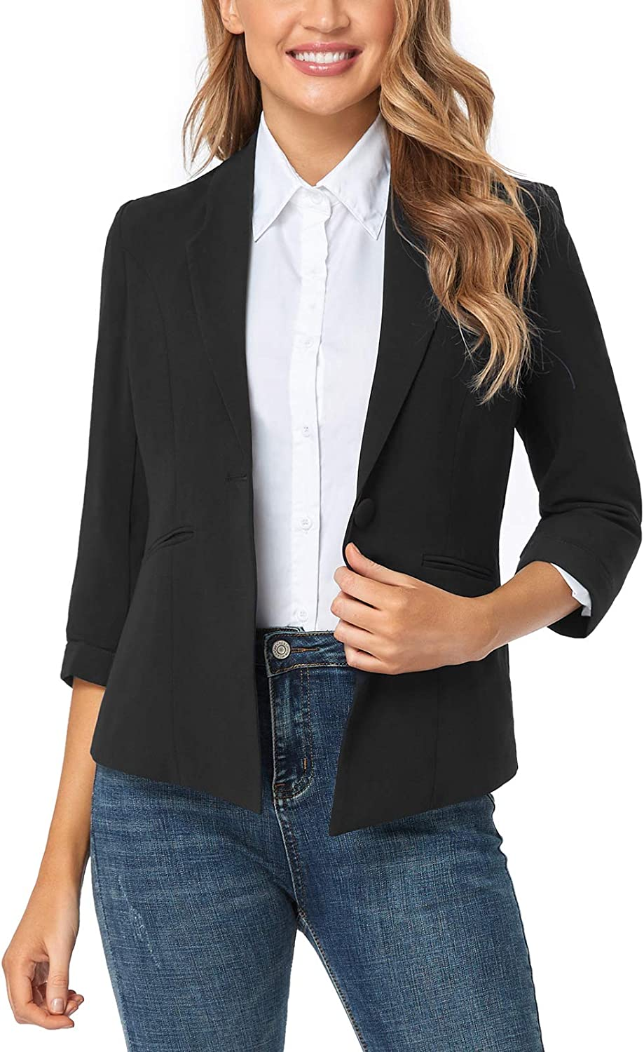 FIRST WAY Women's Limited Super Special SALE held Special Price Blazer for Work Office L Sleeve Front Open 4 3