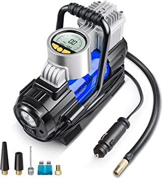 AstroAI Portable Air Compressor Pump, Digital Tire Inflator 12V DC Electric Gauge with Larger Air Flow 35L/Min, LED Light, Overheat Protection, Extra Nozzle Adaptors and Fuse, Blue: image