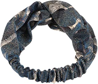 MOPOLIS Girls Sequins Knotted Twist Wide Head Wrap Elastic Hairband Hair Accessory | Color - Blue