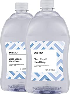 Amazon Brand - Solimo Gentle & Mild Clear Liquid Hand Soap Refill, Triclosan-Free, 56 Fluid Ounces, Pack of 2
