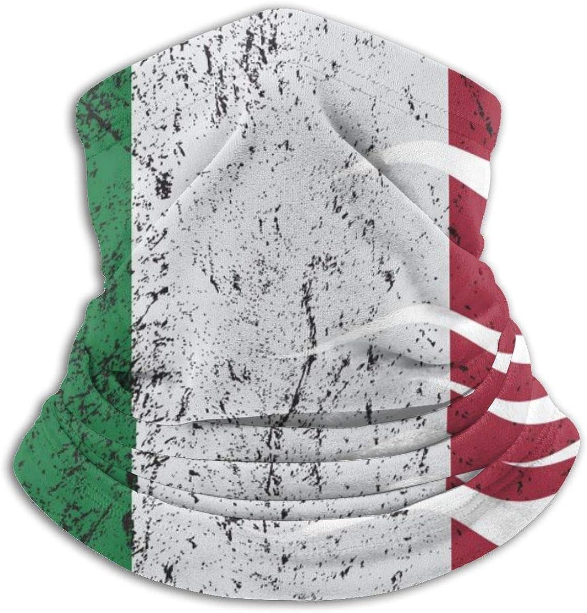 SLHFPX Neck Gaiter Face Mask Italian Flag Fringe Design Vector Half Balaclava Ski Masks for Women Men Adult