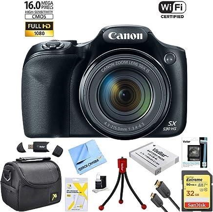 Canon Powershot SX530 HS Cámara digital de 16 megapixel con Wi-Fi, superzoom digital y zoom óptico de 50x. El paquete Ultimate incluye funda de lujo para la cámara, tarjetas de memoria de 32 gigabytes, batería extra, trípode, lector de tarjetas, cable HDMI y más