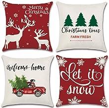YHmall 4 Pcs Christmas Pillow Covers 18 x 18, Decorative Holiday Christmas Throw Pillow Covers Christmas Decor (Beige)