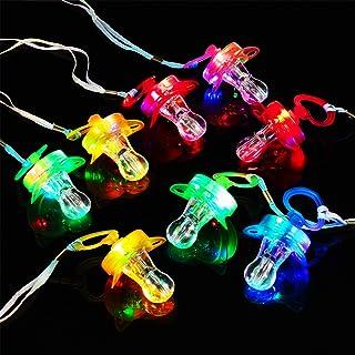 Gejoy 21 Stücke Leuchtende Schnuller Nacht Led Schnuller Witz Schnuller Spielzeug Pfeife Schnuller Glühende Schnuller Halskette für Party Bar Konzert