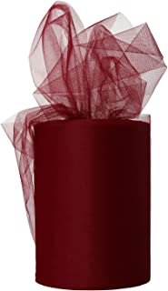 XiangGuanQianYing Wine Tulle Roll Spool 6 Inch x 100 Yards for Tulle Decoration