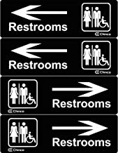4 Pieces Acrylic Plastic Restrooms Sign Restroom Directional Sign Men Women Wheelchair Restroom Sign with Arrow for Office Restaurants Hotels Supermarket Supplies, 9 by 3 Inch
