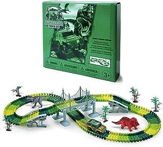 Auuguu 156pcs Dinosaur Race Track Toys