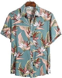 Camisa de Playa de Calidad para Hombre Camisa Hawaiana Corta Casual Verano Estampado Floral Blusa para Hombre Surf Suelto ...