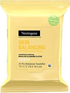 Sponsored Ad - Neutrogena Skin Balancing Micellar Cleansing Cloths Makeup Remover Wipes, Plant-Based Nourishing Wipes with...