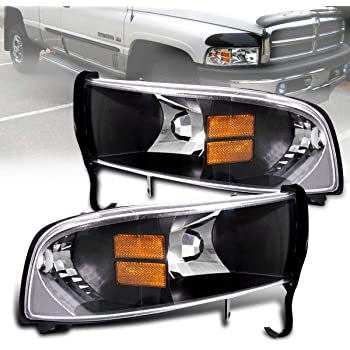 Amazon Com 1994 2001 Dodge Ram 1 Pieces Headlight Replacement Lamps With Corner Signal Lights Does Not Fit Sport Model Chrome Clear Black Amber Automotive
