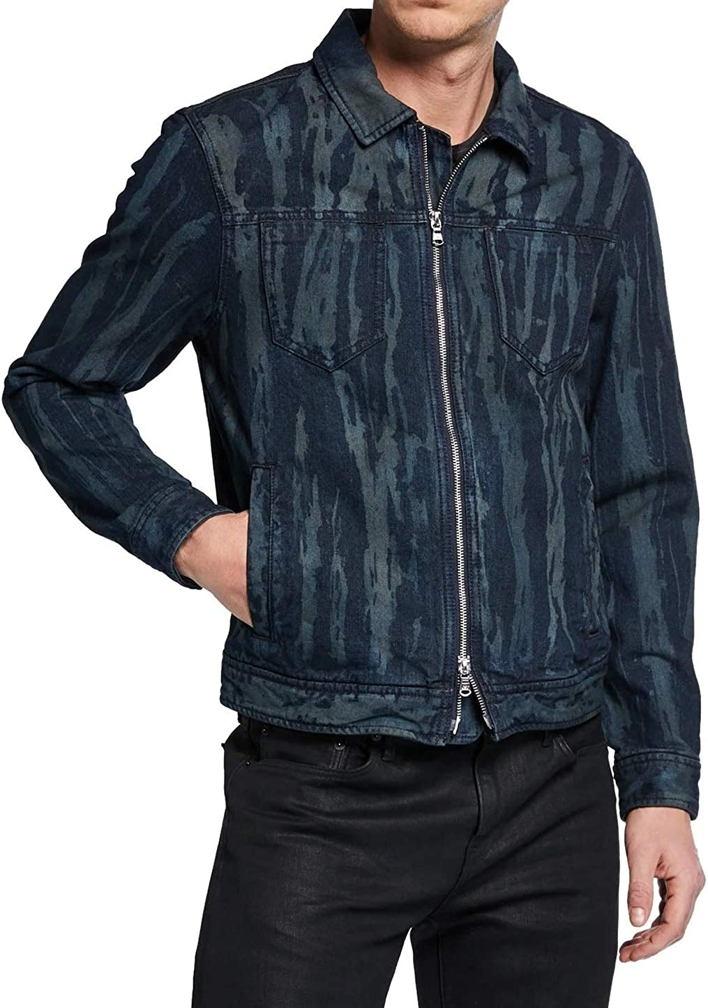 John Varvatos Star USA Men's Lucas Zip Up Trucker Ink Drop Jean Jacket X-Large Navy