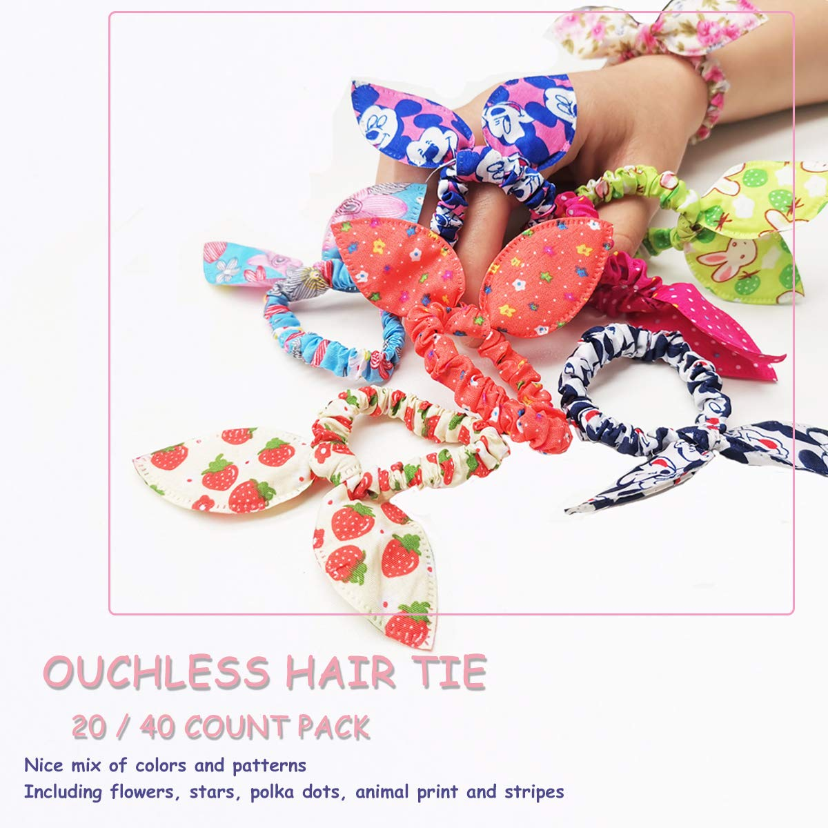 Tsful 20pcs Baby Hair Ties for Toddler Girls Cute Small Elastic Bow Hair Scrunchies Ponytail Holders for Kids