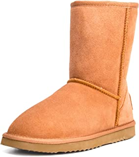 AUSLAND Women's Leather Winter Boot Classic Half Snow Boot