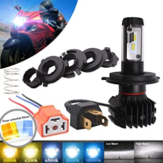 DOT Approved H4/9003 LED Motorcycle Headlight Bulb - 5000LM All-in-One High/Low Beam LED Headlight Bulb Replacement, Universal Conversion Kit - Five DIY Color Options(3000K/4300K/6500K/8000K/10000K)