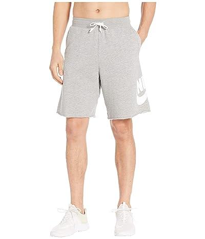 Nike NSW FT Alumni Shorts (Dark Grey Heather/Dark Grey Heather/White) Men