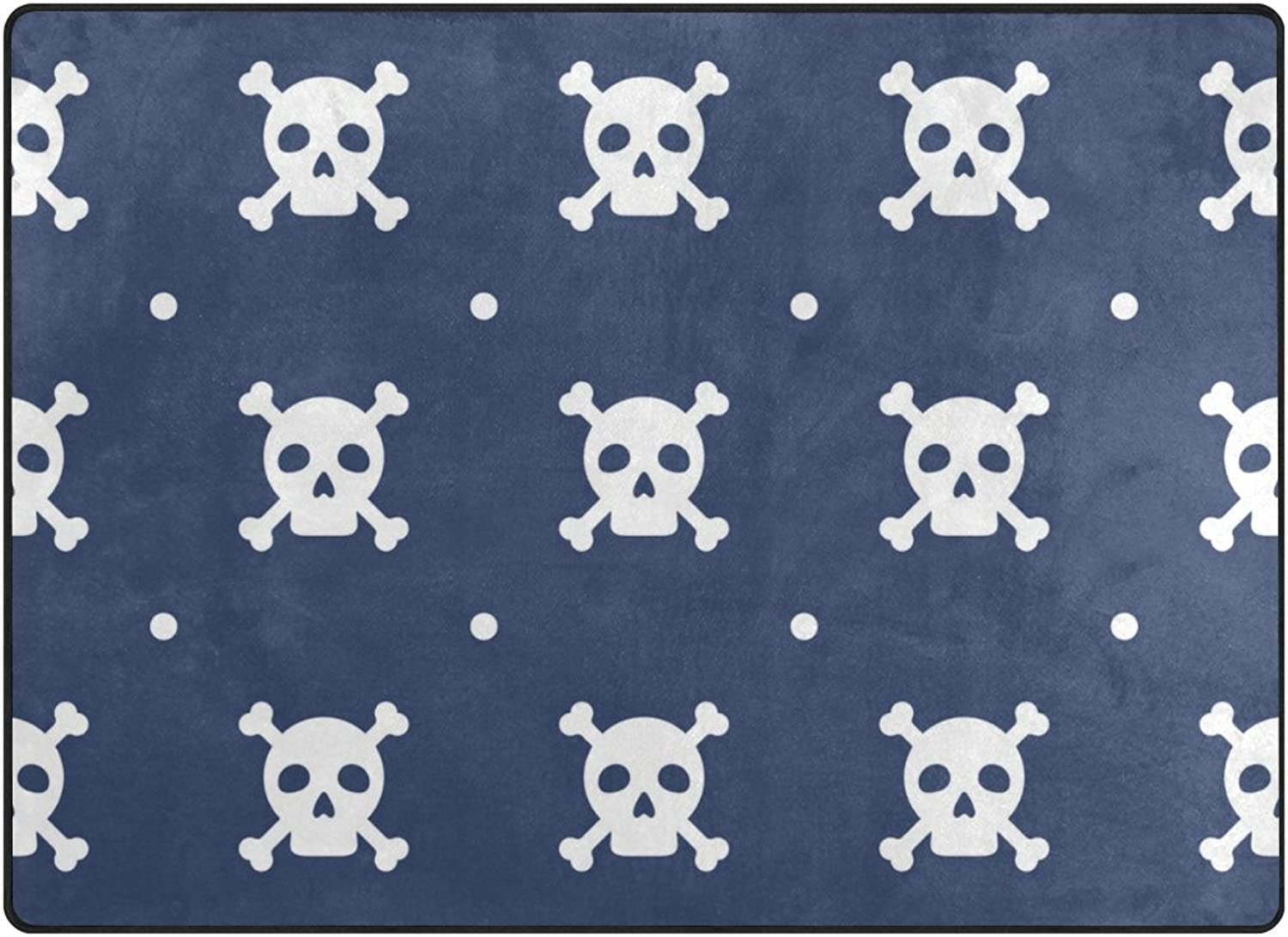 SUABO 80 x 58 inches Area Rug Non-Slip Floor Mat Skull Printed Doormats for Living Room Bedroom