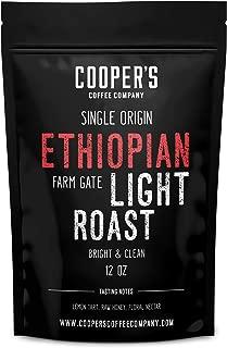 Ethiopian Bright Light Roast Grade 1, Whole Bean Coffee, Natural Dry Processed Micro Lot Single Origin Farm Gate Direct Trade, Intense Bright & Bold Coffee Beans, Gourmet Coffee - 12 oz Bag