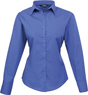 Premier Womens/Ladies Poplin Long Sleeve Blouse/Plain Work Shirt