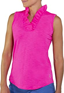 Jofit Womens Millie Ruffle Neck Sleeveless Golf Top