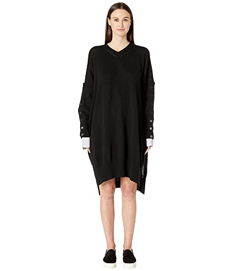 Y's by Yohji Yamamoto Button Sleeve V-Neck Dress
