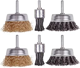 6 Pack Wire Wheels Brush, Rocaris 3 Inch Knotted and Plated Crimped and 1-Inch Carbon..