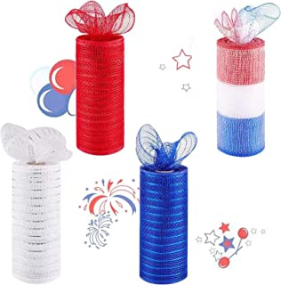 4 Pack Patriotic Decorative Mesh Ribbon 6in x 30Feet Each Roll Metallic Foil Red/White/Blue/Mixing Color Set for Wreaths, ...