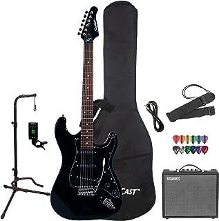 Sawtooth ST-ES-BKB-KIT-3 گیتار الکتریک سیاه و سفید با Blackguard Guard - شامل لوازم جانبی، آمپلی فایر، کیف دستی و درس های آنلاین