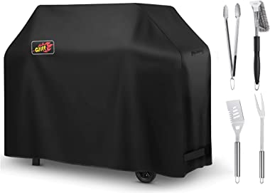 VicTsing Grill Cover with Stainless Steel Spatula, Fork, Brush & Tongs, 58-Inch BBQ Gas Cover Waterproof, Sunproof, with BBQ