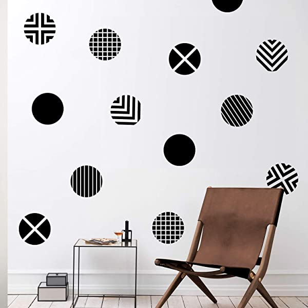 Set Of 12 Vinyl Wall Art Decal Circle Patterns 10 X 10 Each Modern Urban Decor For Home Apartment Workplace Decor Geometric Design For Living Room Bedroom Decals 10 X 10 Each Black